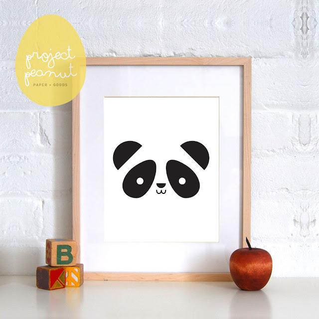 Panda Nursery Wall Art Printable, Wall Decor for Kid's Nursery or Playroom. Digital Printable, Nursery Poster, Black and White Art.   projectpeanut.com.au