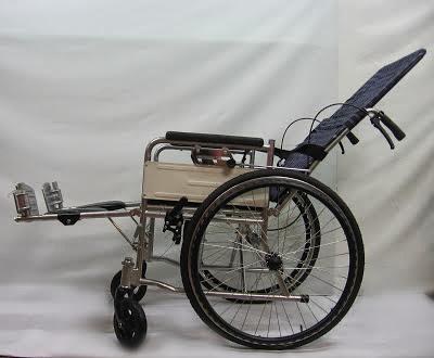 Semi reclining commode wheelchair