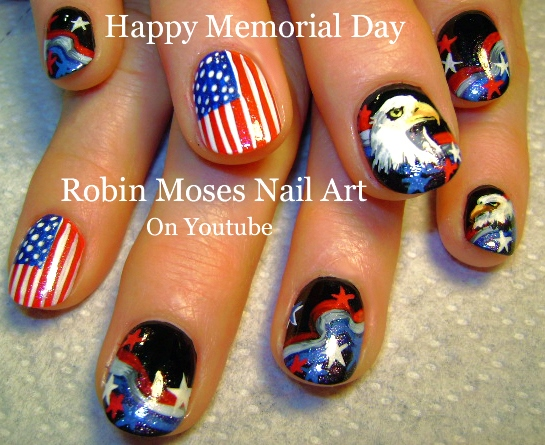 Robin moses nail art 4th of july nail tutorial up today red 4th of july nail art playlist diy easy independence day nail art tutorials fourth of july nails prinsesfo Image collections
