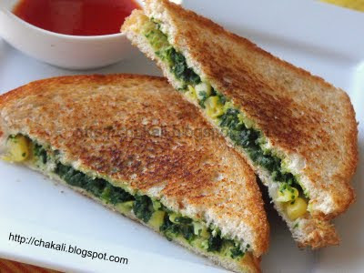 Spinach sandwich, spinach corn sandwich, spinach cheese sandwich