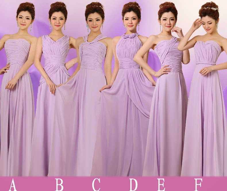 Top Ruched Slit Skirt Six-Design Bridesmaid Dresses