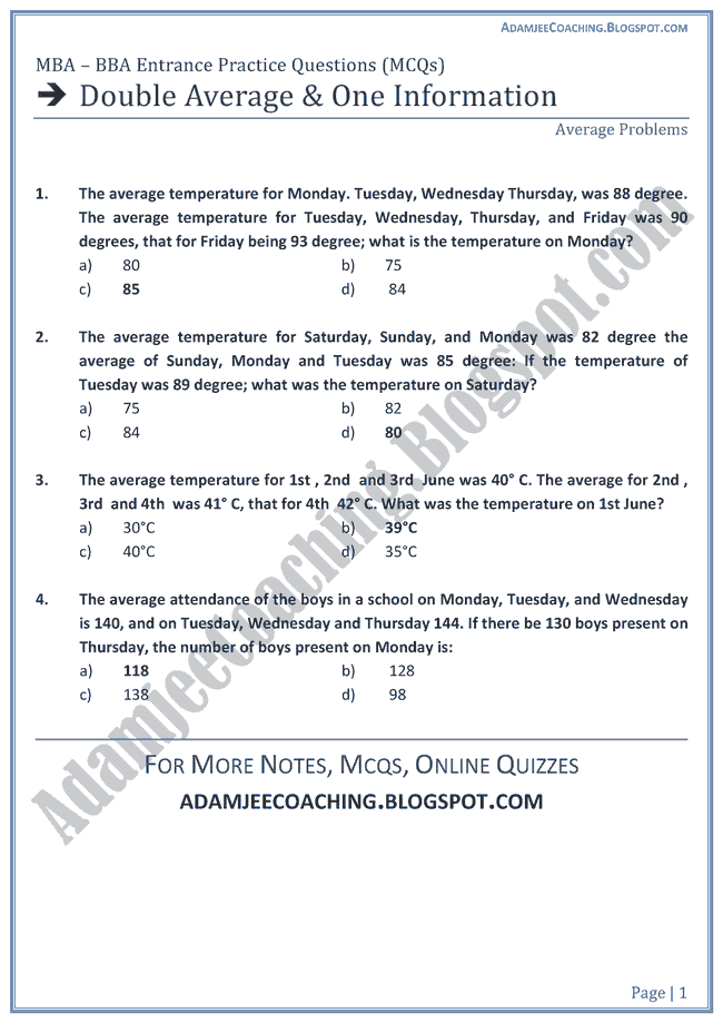 Double-Average-and-One-Information-aptitude-test-preparation-for-mba-bba