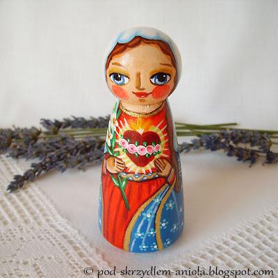 Malowana figurka Niepokalane Serce Maryi Matka Boża