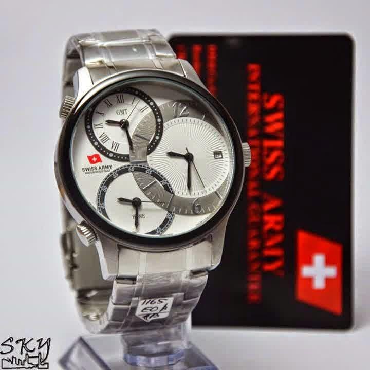 Swiss Army SA 1165 SS Triple Time list hitam plat putih