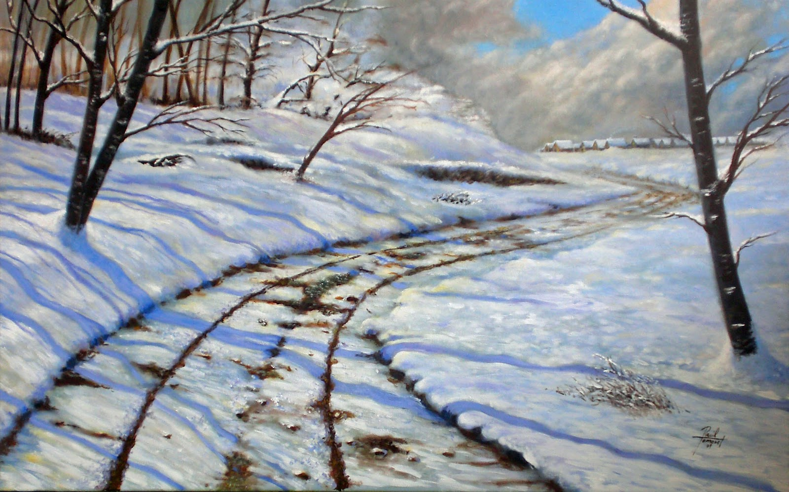 Paisaje nevado - -116x72 cm - óleo sobre lienzo b/ancho
