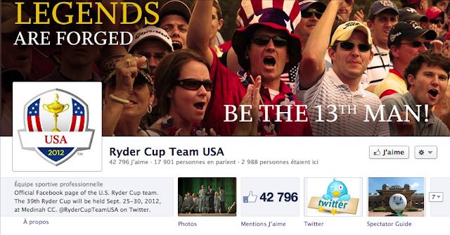 Ryder Cup 2012 Team USA sur Facebook