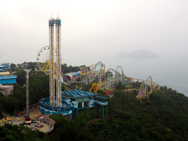 View of Marine World rollercoasters and rides in Ocean Park, Hong Kong