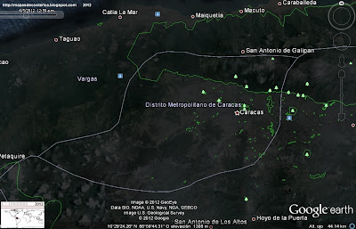 Mapa de CARACAS con parques y zonas recreativas, capital de VENEZUELA, (google earth,vn)