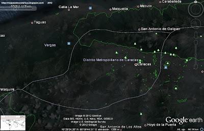 Mapa de CARACAS con parques y zonas recreativas, capital de VENEZUELA, (google earth,vn)