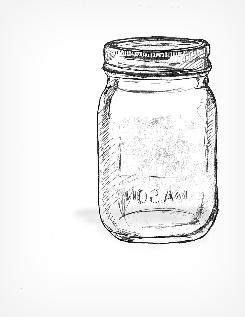 Blue Mason Jar Drawing Initial Sketch For Mason Jar