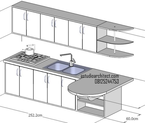 Desain kitchen set mungil untuk for Ukuran rak piring kitchen set