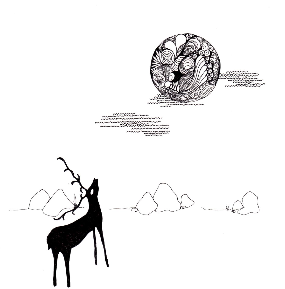 Ideas for christmas cards no 1 stag and moon for Christmas card drawing ideas