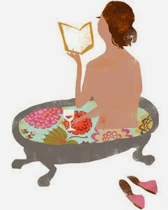 woman with book and wine wine for her tub time illustration by Gwenda Kaczor