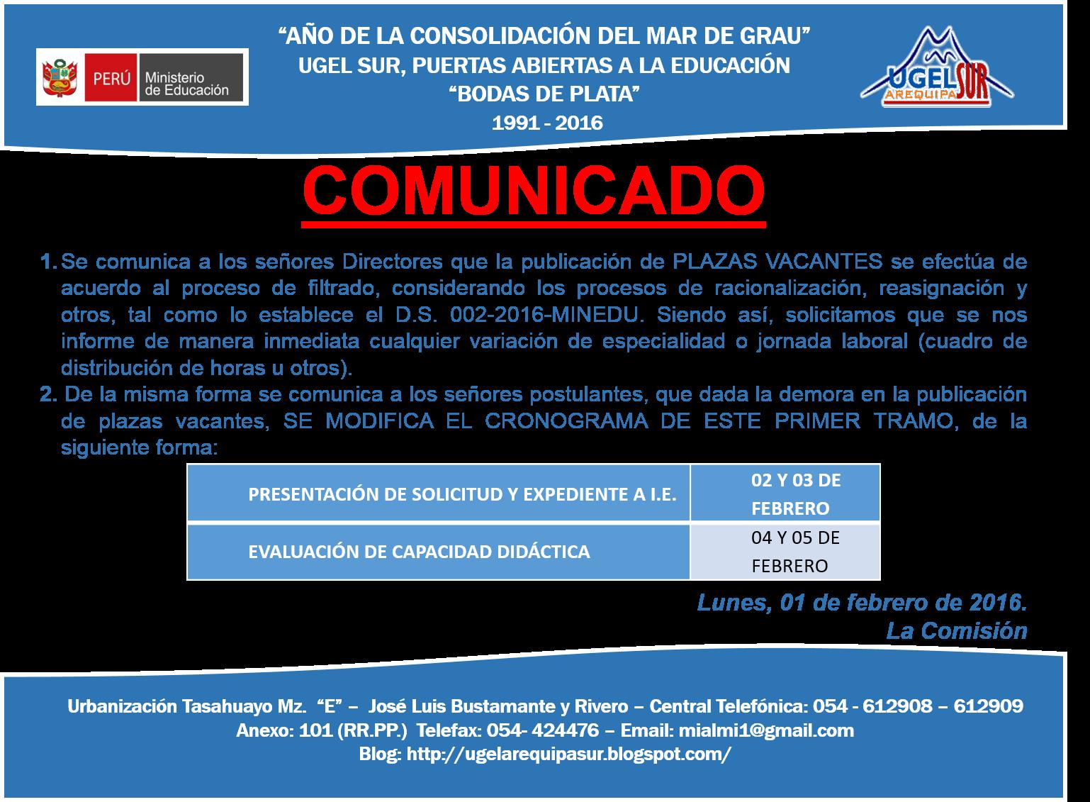Plazas vacantes para contrato docente 2016 en la ugel for Plazas vacantes concurso docente 2016