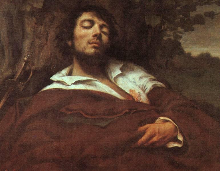 Imagen de la pintura El hombre herido de Courbet