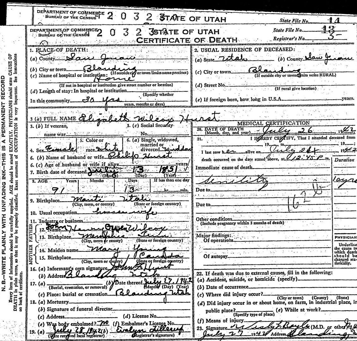 Documents For Karis Ancestors Elizabeth Wilcox Hurst Death Certificate