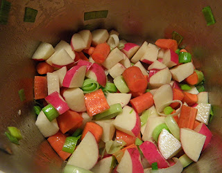 Potatoes, Leeks, and Carrots in Pot
