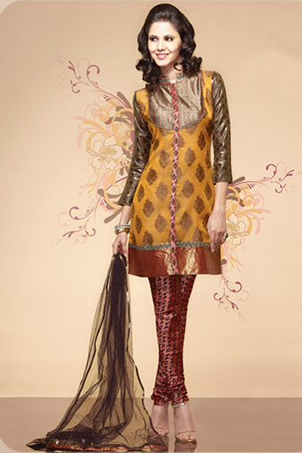Mustard and Teal Peach Chanderi Silk Churidar Suit - Wedding
