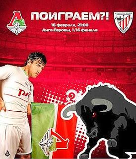 Cartel con el que el club ruso anuncia su enfrentamiento contra el Athletic Club