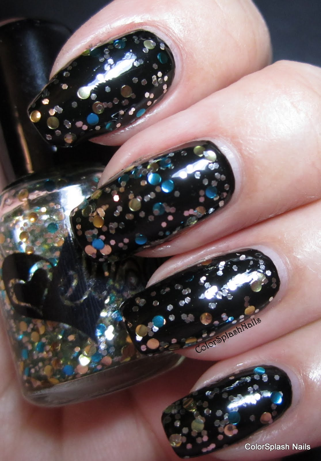 This Clear Based Topper Is Filled With Gold And Teal Circle Glitters That Work Over Almost Any Color