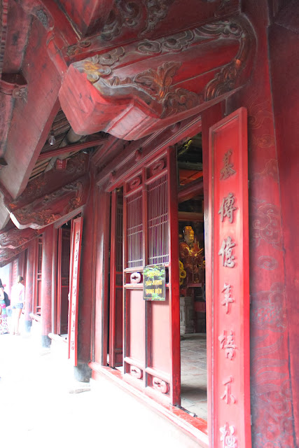 Side view of temple ceremony at Temple of Literature in Hanoi, Vietnam