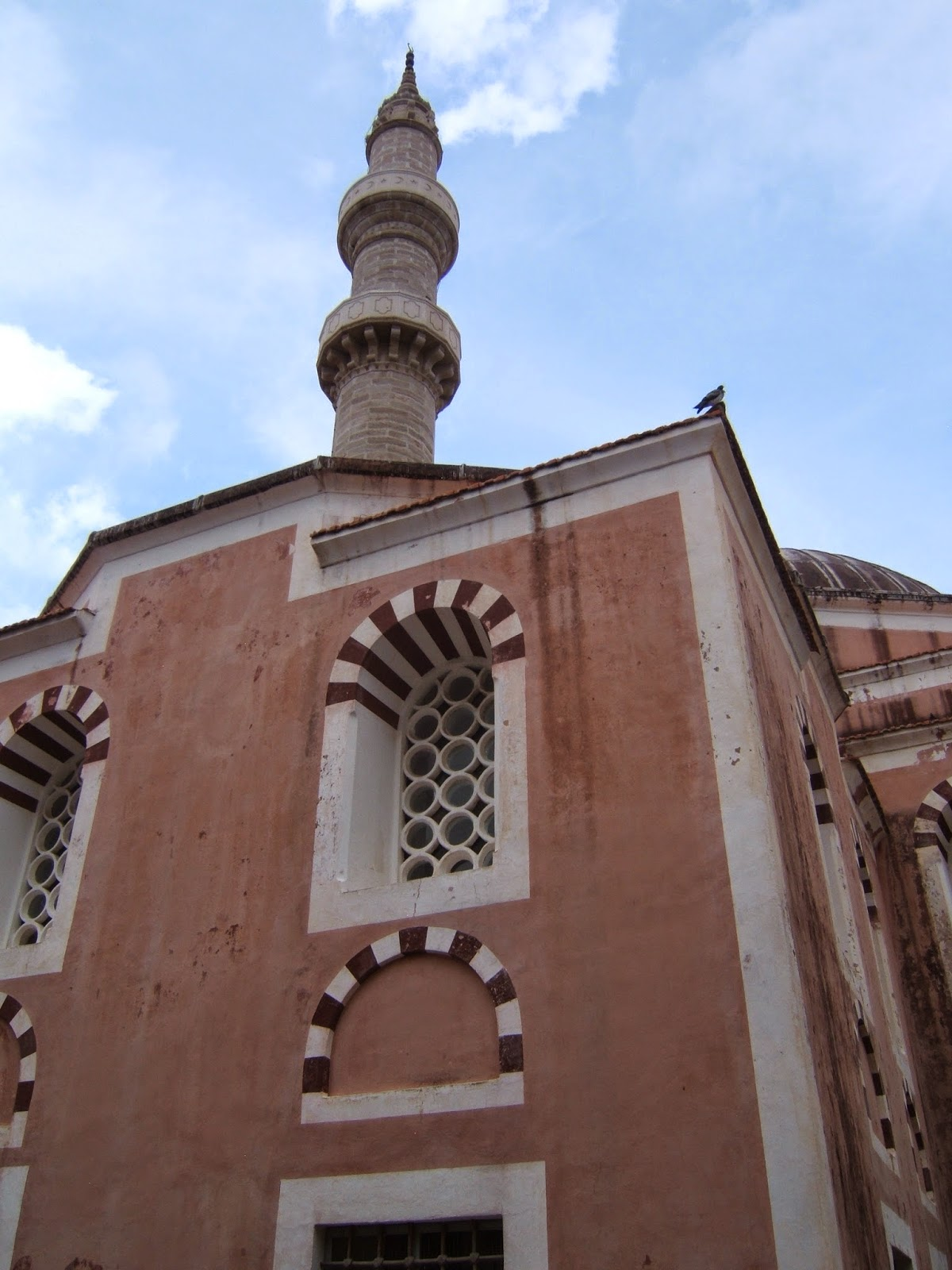 Beautiful red and white detail work, Turkish Mosque  Old Town, Greece © 2008 Tina M. Welter