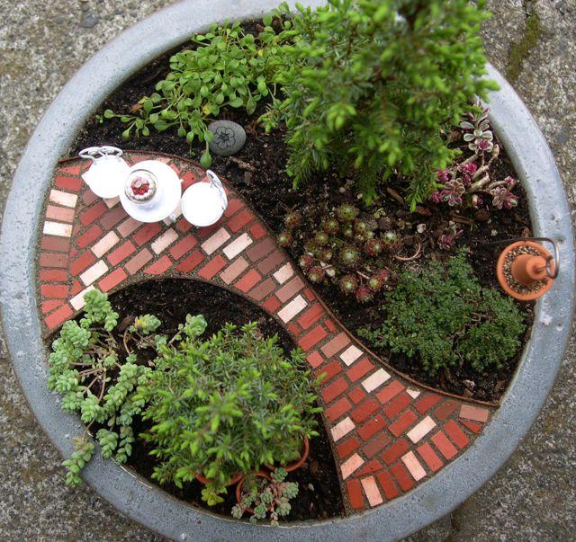 mini jardim de vidro:Cada vaso, é transformado em um mini jardim.