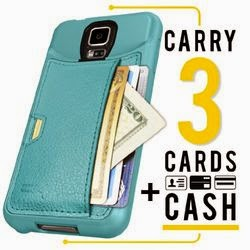 Samsung Galaxy S5 Wallet Case - Q Card Case by CM4 - Pacific Green