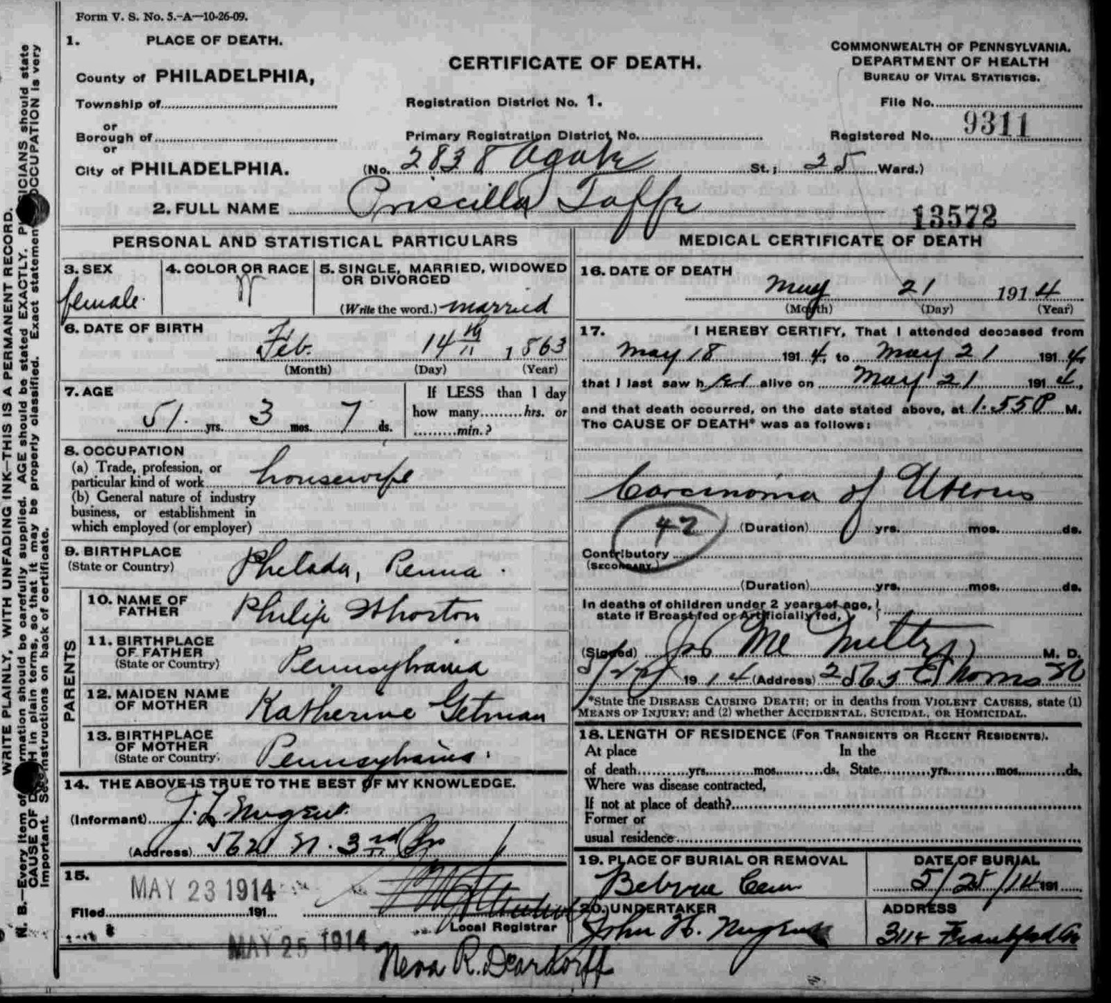 Research Hint Philadelphia Death And Birth Records Phila 1906 1963