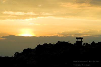 sunset over watchtower at daroji bear sanctuary