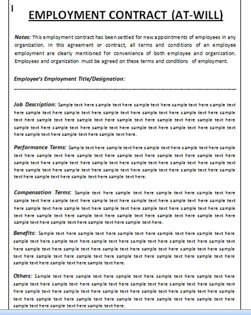 employment contract agreement template .