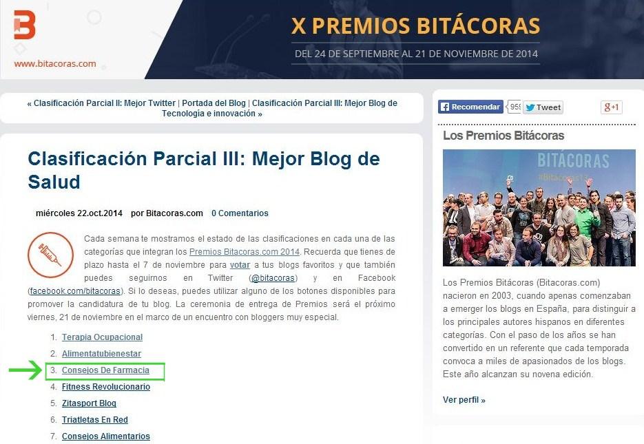 X Premios Bitácoras - Clasificación parcial III