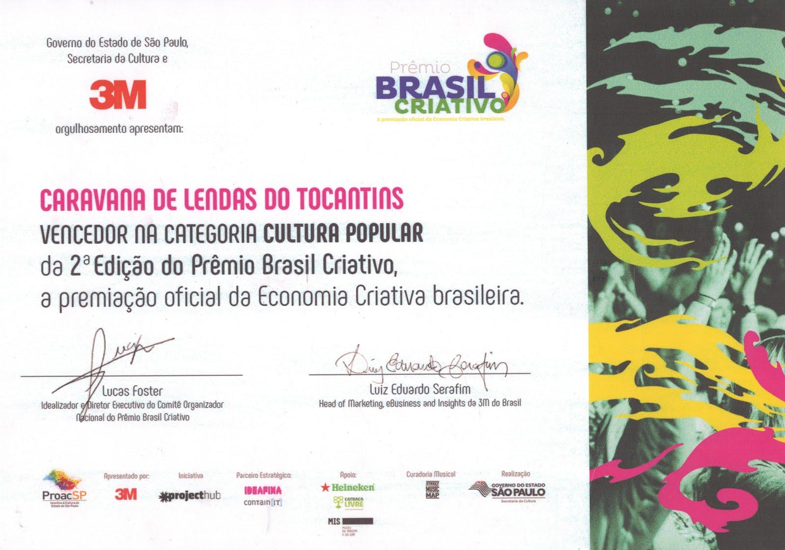 Vencedor do Prêmio Brasil Criativo 2016
