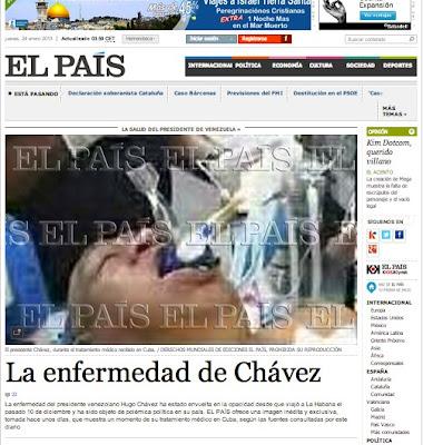 Foto de Chávez en El País.