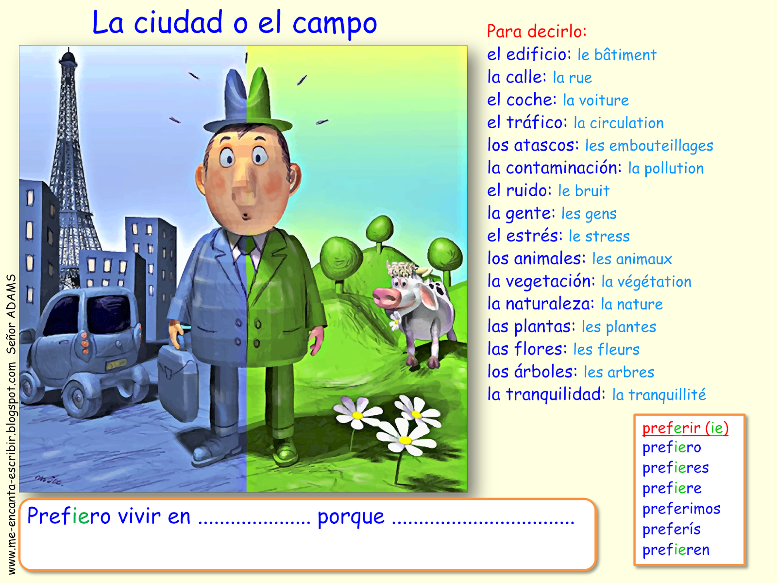 Me encanta escribir en español: ¿Qué prefieres? ¿La ciudad o el campo?
