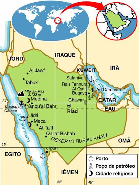 Mapa da Arábia Saudita