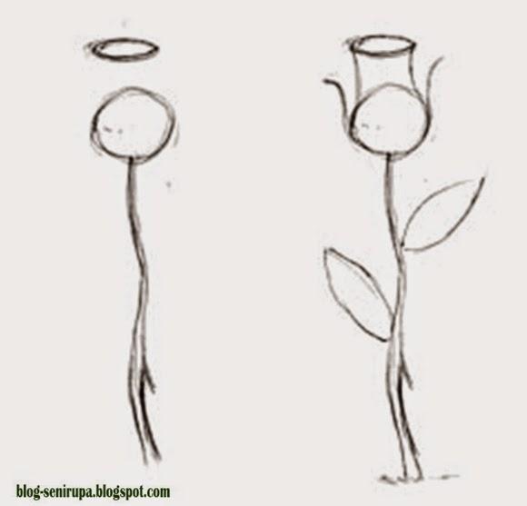 Cara Menggambar Flora Langkah demi Langkah