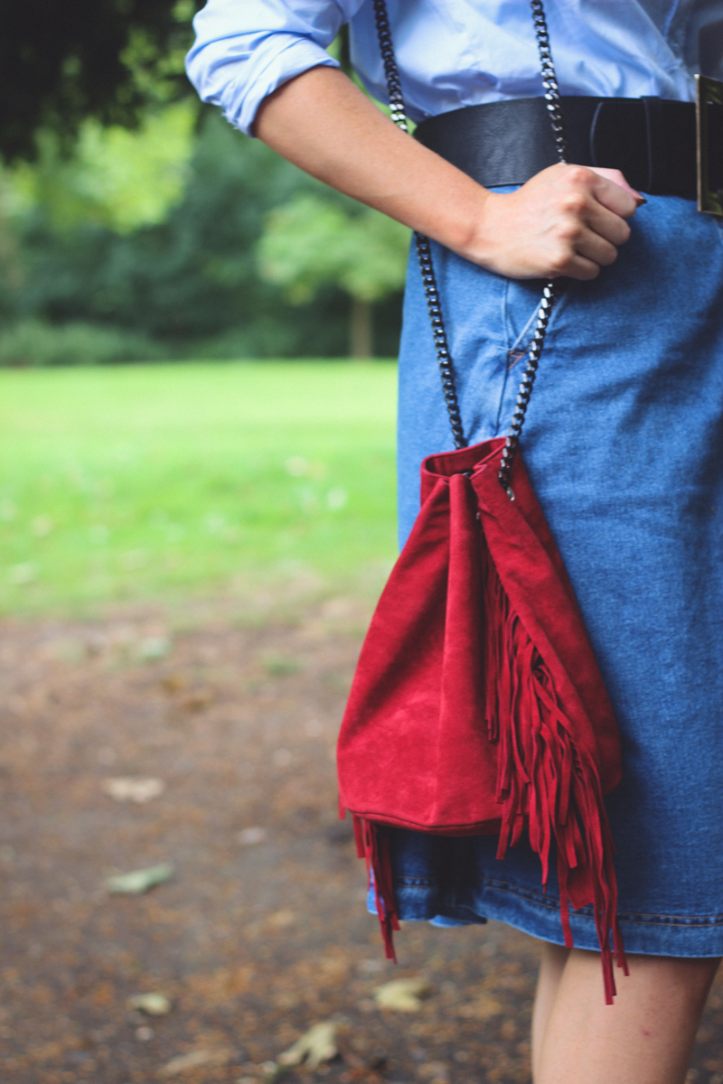 Pretty Little Thing Red Suede Tassle Bag