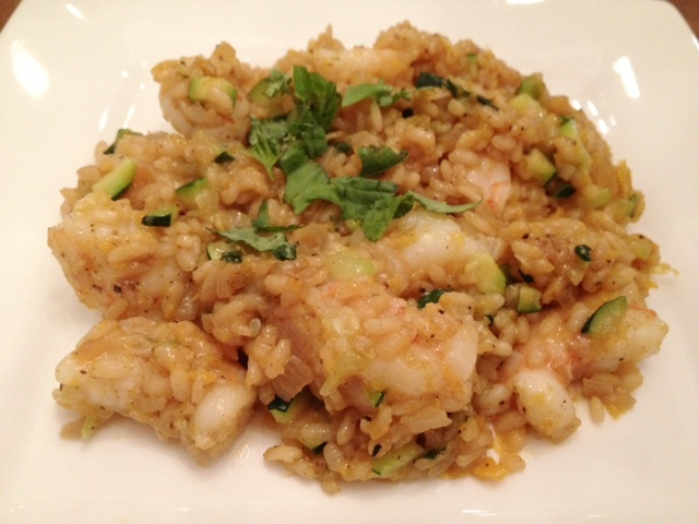Savory sweet spicy yellow pepper risotto with shrimp for Spicy prawn risotto