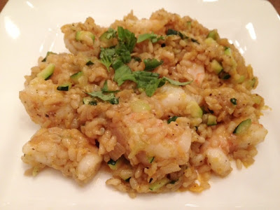 Yellow Pepper Risotto With Shrimp And Zucchini recipe