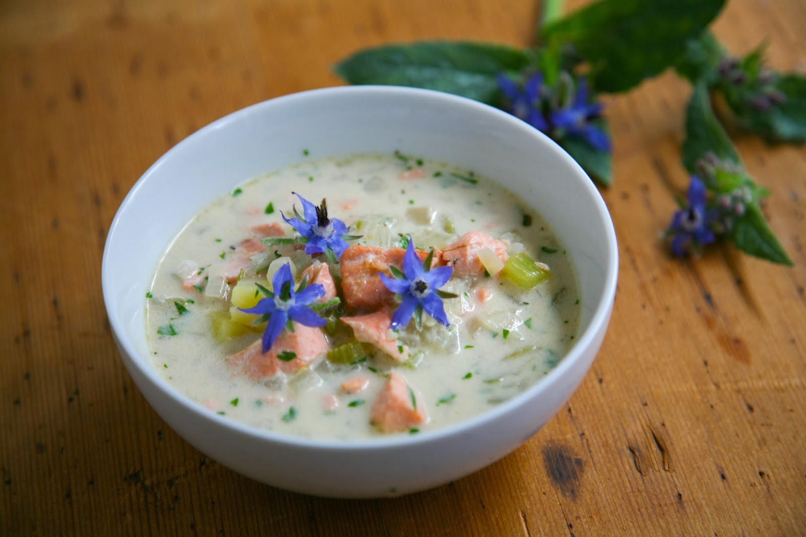 Salmon Chowder With Borage Flowers