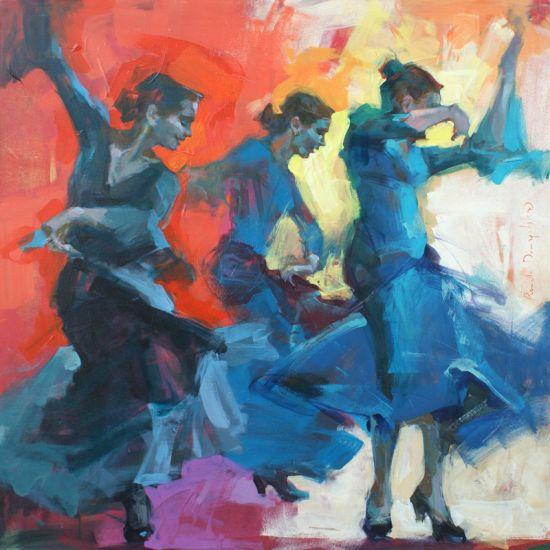 Renata Domagalska pinturas mulheres impressionistas dança flamenco