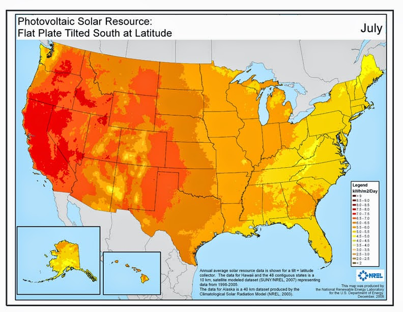 To Ilrate Here Is The Solar Resource For July Showing The The Columbia Basin Has World Class Solar Resource During That Month As Good As Any Location