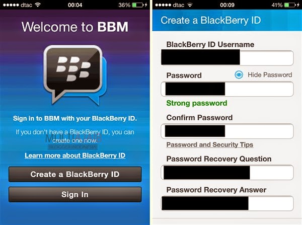 Create a Blackberry ID