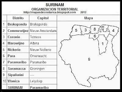Nombre de los distritos de SURINAM, blanco y negro
