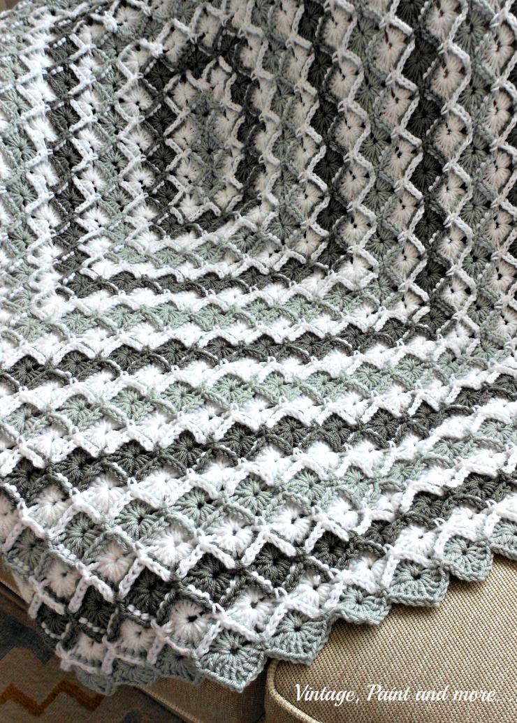 Grey Diamond Afghan Vintage, Paint and more...