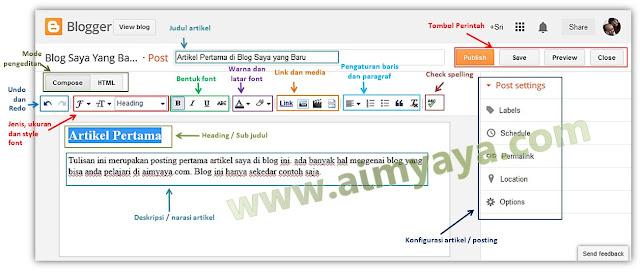 Gambar: Halaman Edit Artikel/Posting di Blogger