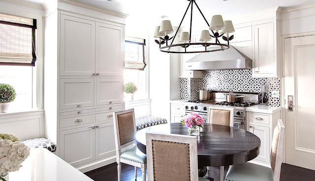 small kitchen white cabinets cabinetry eat-in mosaic tile backsplash built in window seats apartment new york