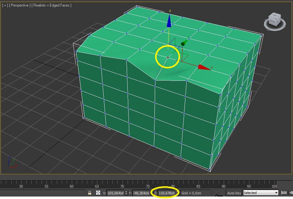 Coordenadas del vértice sobre el que alinearé los demás vértices en 3ds max
