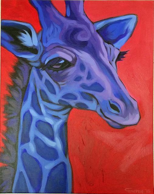 giraffe painting, whimsical giraffe, whimsical giraffe painting